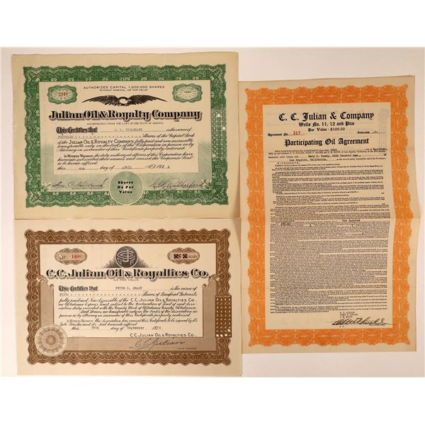 Infamous C.C. Julian Oil Company Stock Certificates (2) and Agreement  [127971]