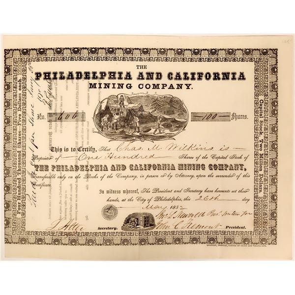 Philadelphia and California Mining Company Stock with John C. Fremont as President  [119424]