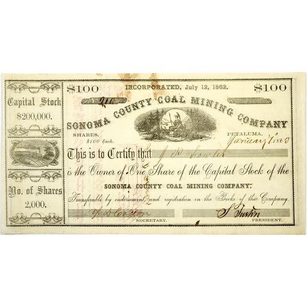 Sonoma County Coal Mining Company Stock, Petaluma  [118720]