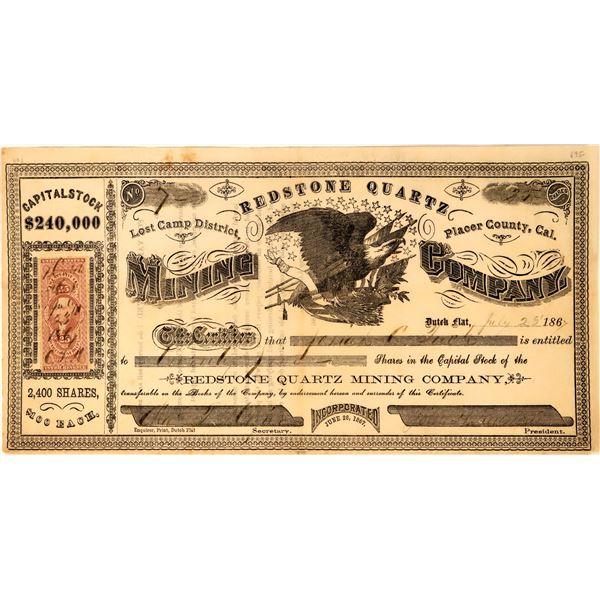 Redstone Quartz Mining Company Stock Certificate  [113535]