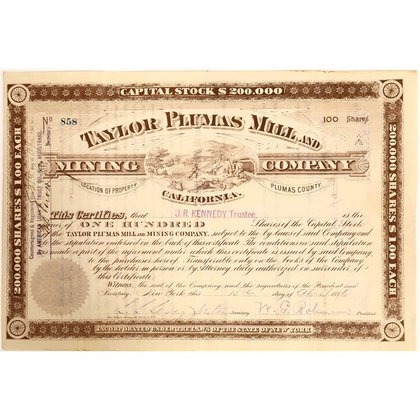 Taylor Plumas Mill & Mining Co Stock, Plumas County, Cal. 1886  [111895]