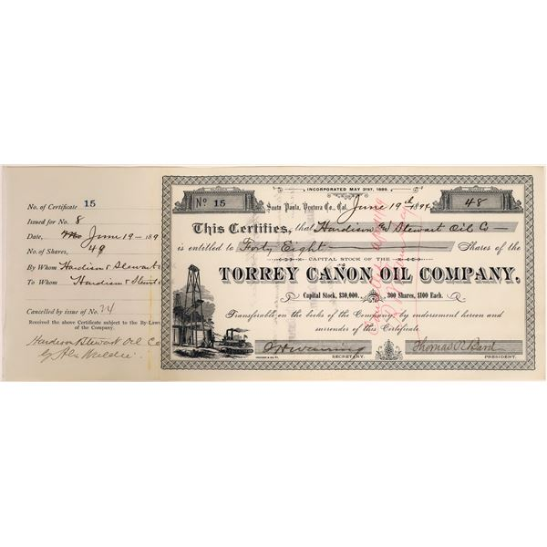 Torrey Canon Oil Stock (Merged to form Union Oil Co) Signed by Thos. Bard, Union Oil Founder  [11189