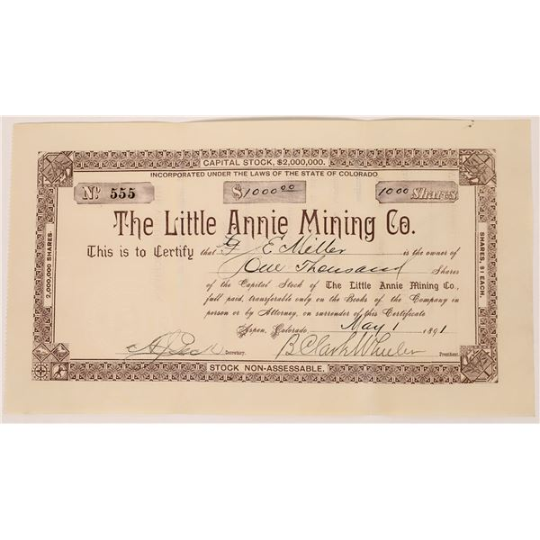 Little Annie Mining Co. - Roaring Fork ( Aspen) Mining District, Pitkin County, Colorado  [135432]