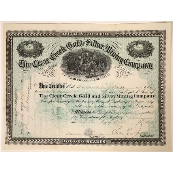 Clear Creek Gold & Silver Mining Stock, Colorado, 1882  [129561]
