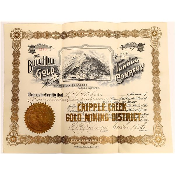 The Bull Hill Gold Tunnel Co. Stock Certificate  [132414]