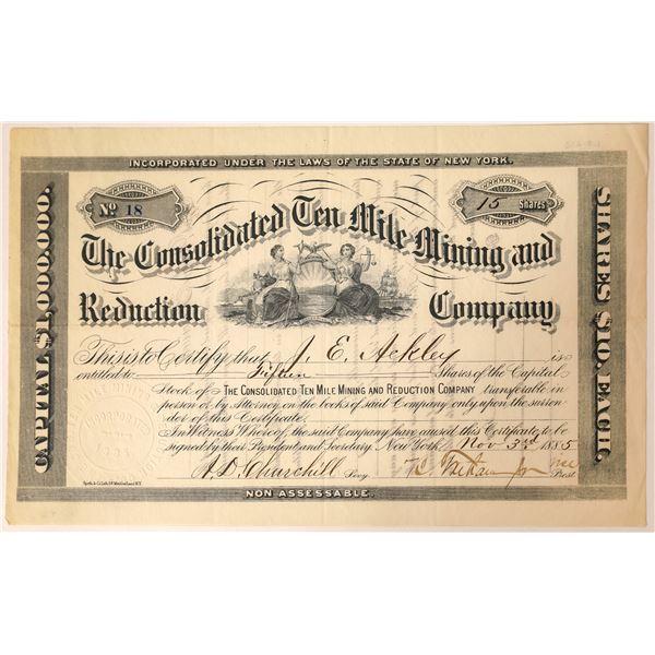 Consolidated Ten Mile Mining & Reduction Stock, Kokomo, Summit Co. Colo. 1885  [129562]