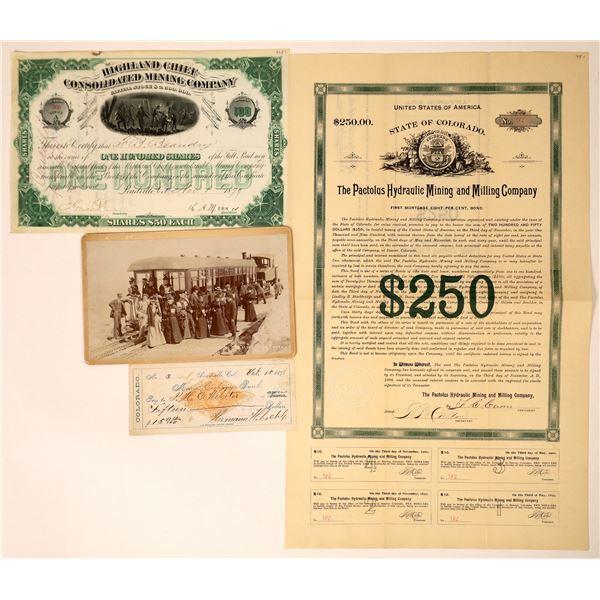 Colorado Stocks and Ephemera from the 1800's (4)  [129557]