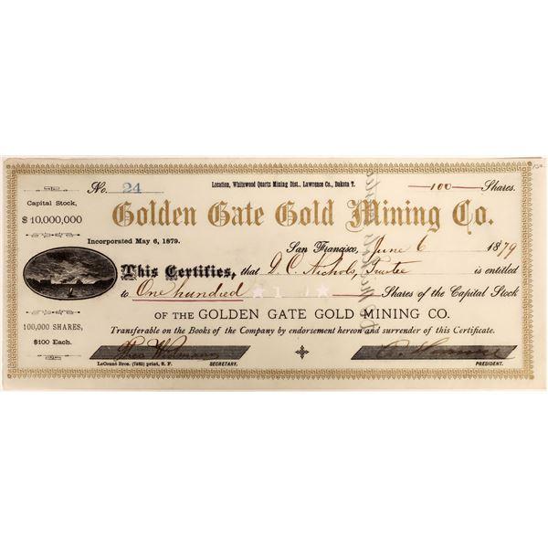 Golden Gate Gold Mining Stock, Dakota Territory, 1879  [118371]