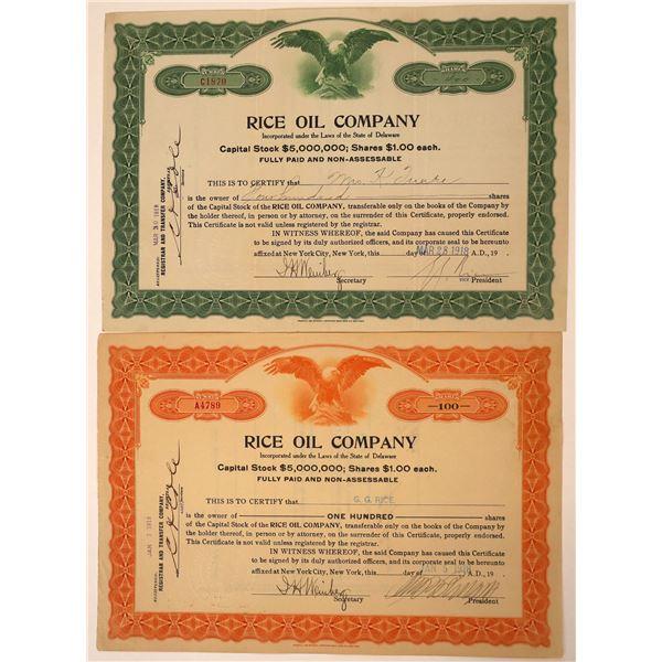 Rice Oil Company Stock Certificates Famous Con Artist (2)  [127972]