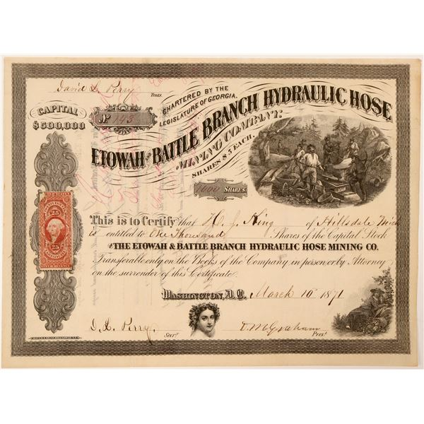 Etowah & Battle Branch Hydraulic Hose Mining Company Stock Certificate  [101772]