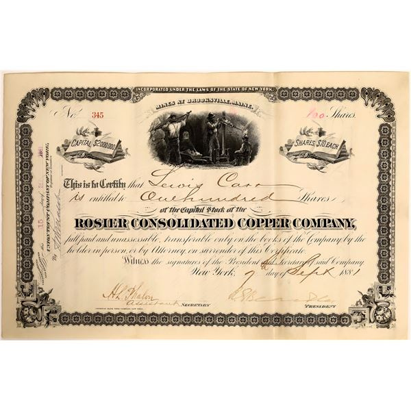 Rosier Consolidated Copper Company Stock, 1881  [111876]