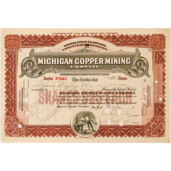 Michigan Copper Mining Company Stock Certificate  [116122]