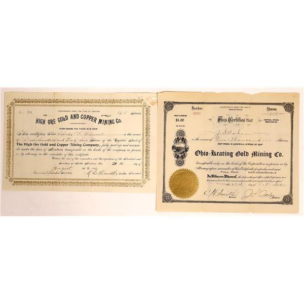 Butte, Montana Mining Stock Certificate Pair  [134022]