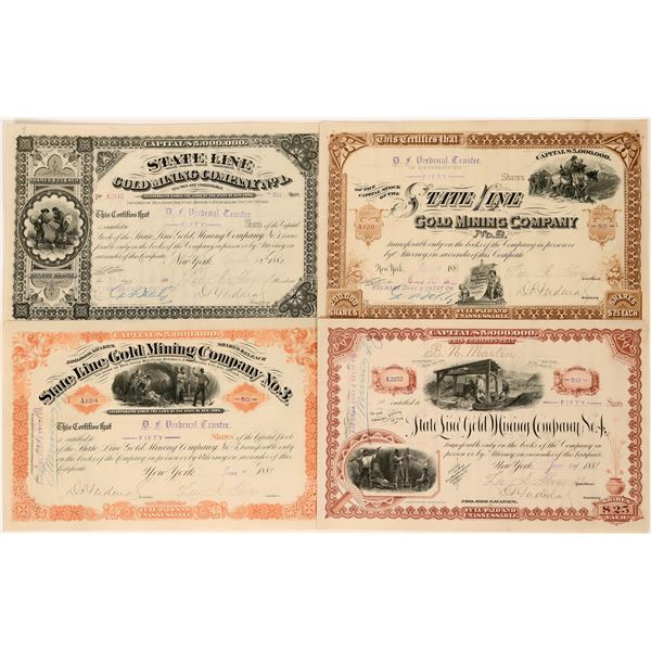 State Line Gold Mining Company Stocks, Full Set of four #1- #4  [118610]