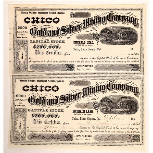 Chico Gold and Silver Mining Company Stock Certificate Signed by Bidwell  [132086]