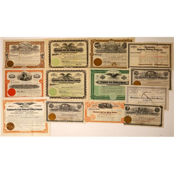 Large Manhattan, Nevada Mining Stock Certificate Collection  [130083]