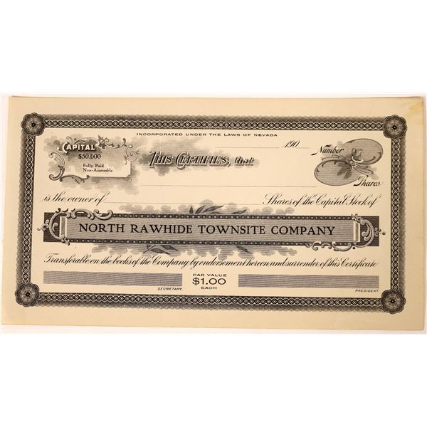 North Rawhide Townsite Company Stock Certificate  [130080]