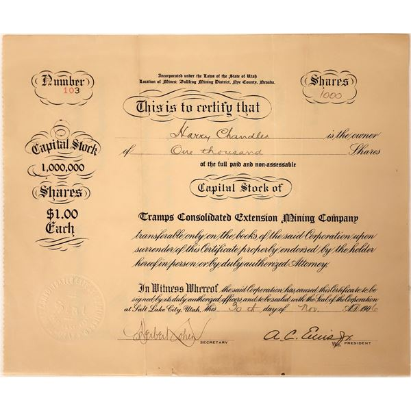 Tramps Consolidated Extension Mining Company Stock  [130112]