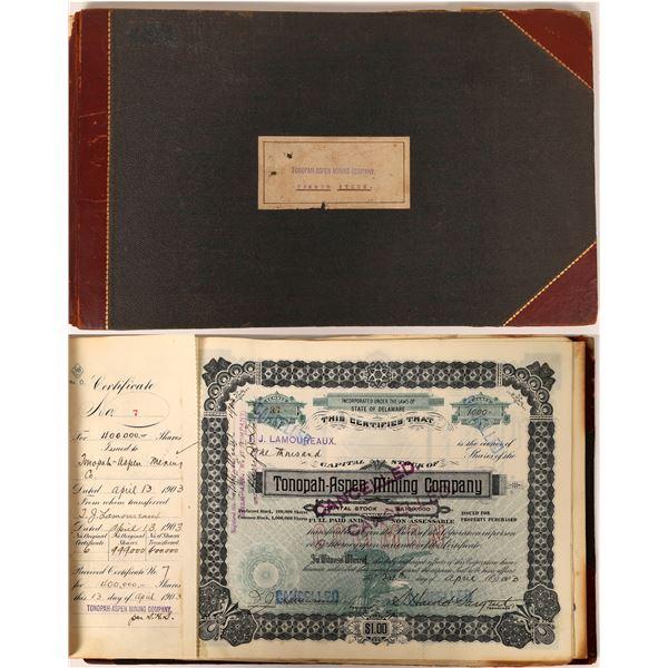 Tonopah Aspen Mining Company Stock Certificate Book, Circa 1903  [129546]