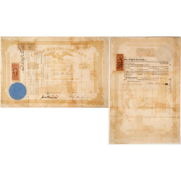 Eagle Mining Company of Nevada Stock Certificate,  1865  [60640]