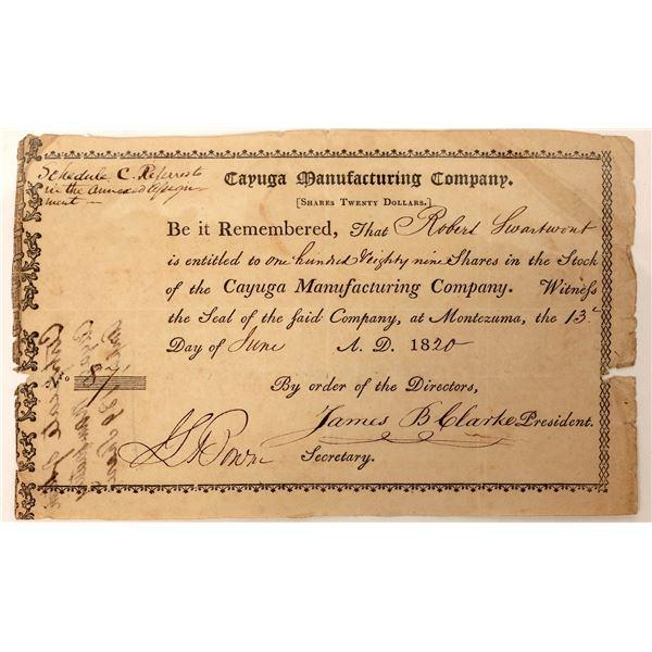 Cayuga Manufacturing Company 1820 Stock Certificate  [127615]