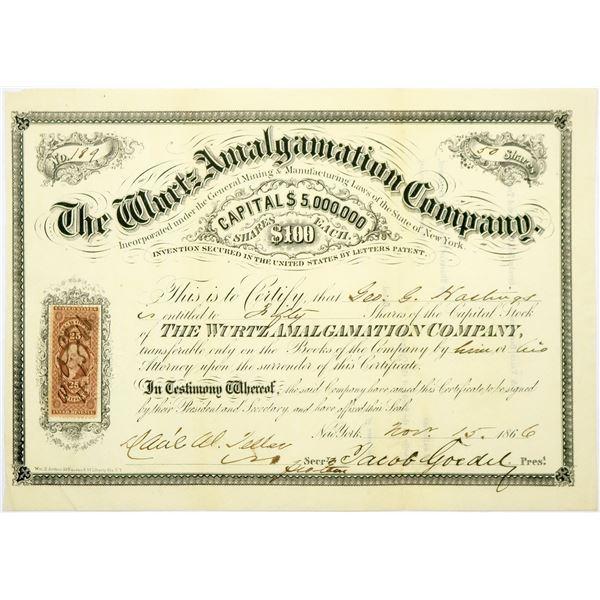Wurtz Amalgamation Company Stock Certificate, New York, 1866  [118719]