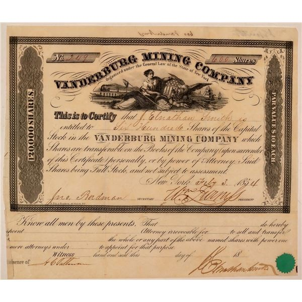 Vanderburg Mining Company Stock Certificate  [107708]