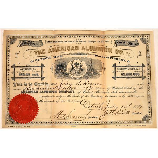 American Aluminum Co. Stock, 1887  [127094]