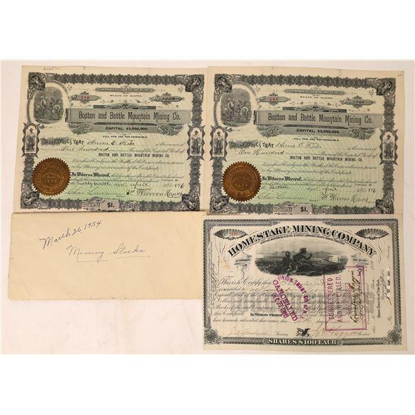 Homestake Stock signed by Haggin, plus Boston & Battle Mtn Stocks  [130056]