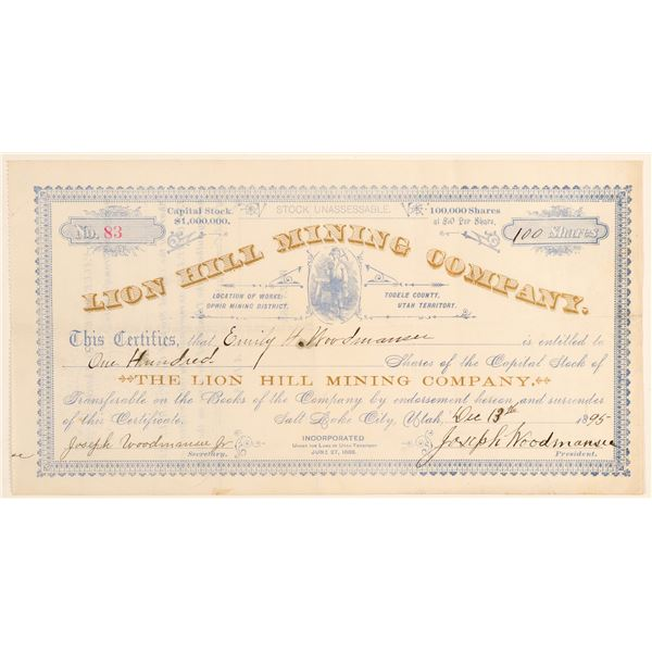 Lion Hill Mining Company Stock Certificate  [135382]