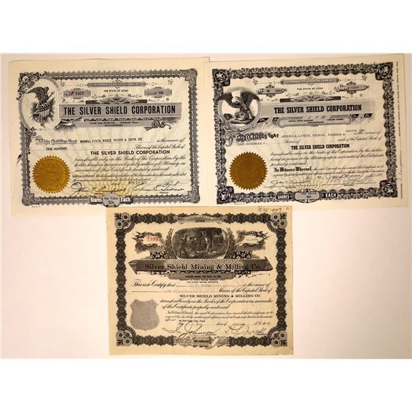 Silver Shield Mining & Milling + 2 Silver Shield Stock Certificates  [131873]