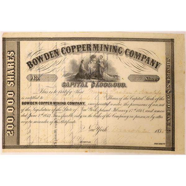 Bowden Copper Mining Stock, Louisa County, Virginia, 1855  [129564]