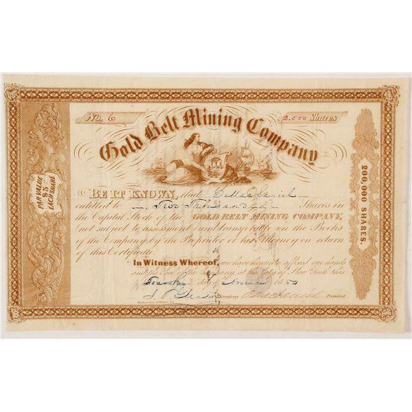 Gold Belt Mining Company Gold Rush Era Stock Certificate  [56952]