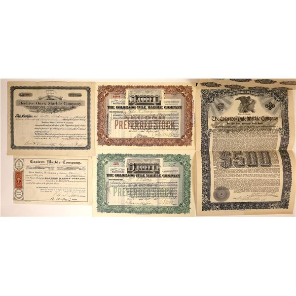 Marble Companies' Stock Certificates (4) and Bond (1)  [127988]