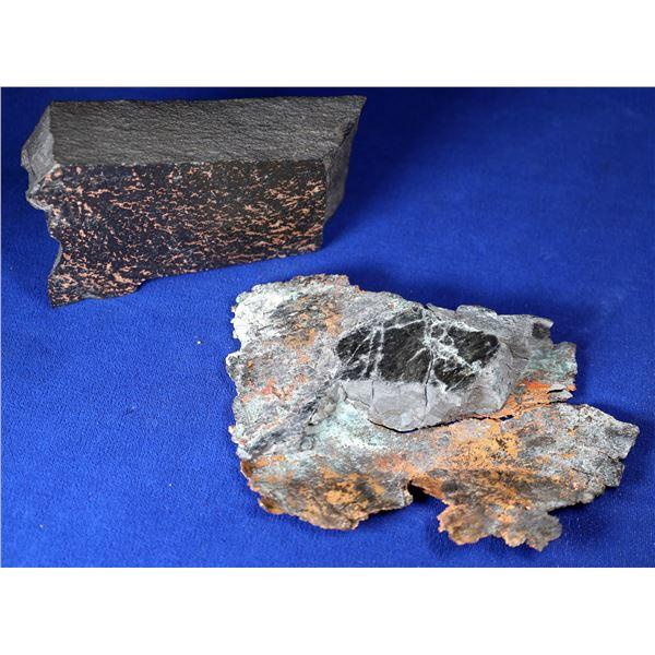 Native Copper in Black Shale Matrix - 2 pcs  [132374]