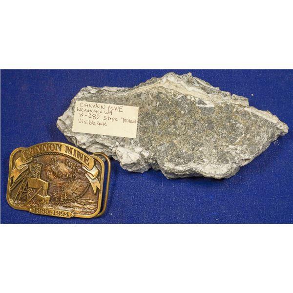 Gold Ore Slab, Cannon Mine, Wenatchee, Washington, and Buckle  [132523]
