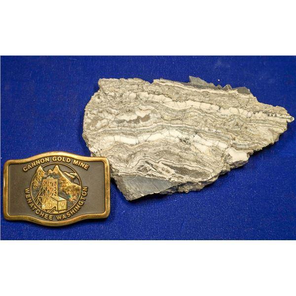 Gold Ore Slab, Cannon Mine, Wenatchee, Washington, with Buckle  [132522]