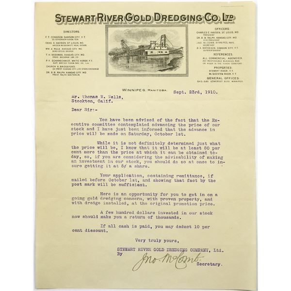 Stewart River Gold Dredging Co Letterhead With Dredging Ship, 1910  [135442]