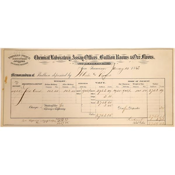 Gold Bullion Assayer Sales Receipt Document- Thomas Price  [132309]