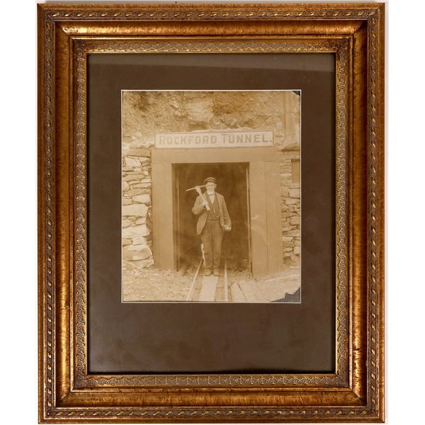 Framed Photo of Miner at Portal of Rockford Tunnel, Clear Creek, Colorado  [129542]