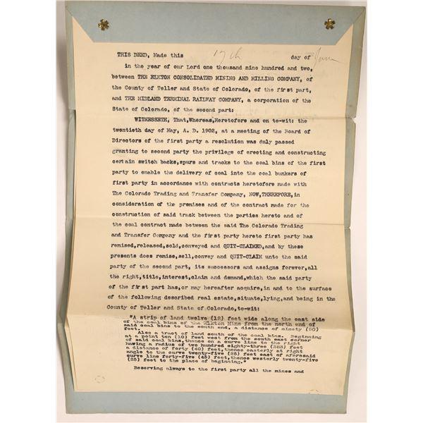 Elkton Mine Grants Easement to Midland Terminal Rwy. Signed by Geo. Bernard  [111847]