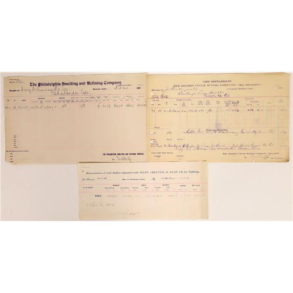 Colorado Assay Receipts (3)   [132409]
