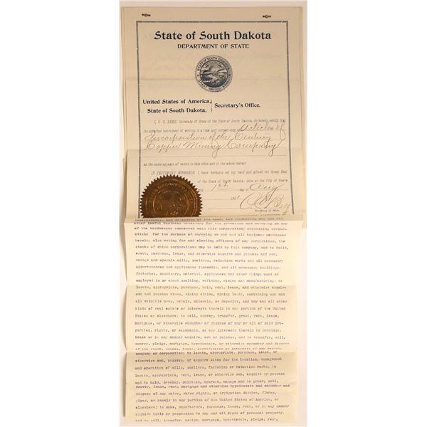 Century Copper Mining Co Articles of Incorporation, Colorado, 1900  [129568]