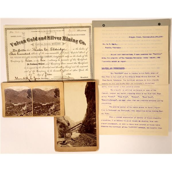 Colorado Mining Stock, Photos & Document, 1800's (4)  [111842]
