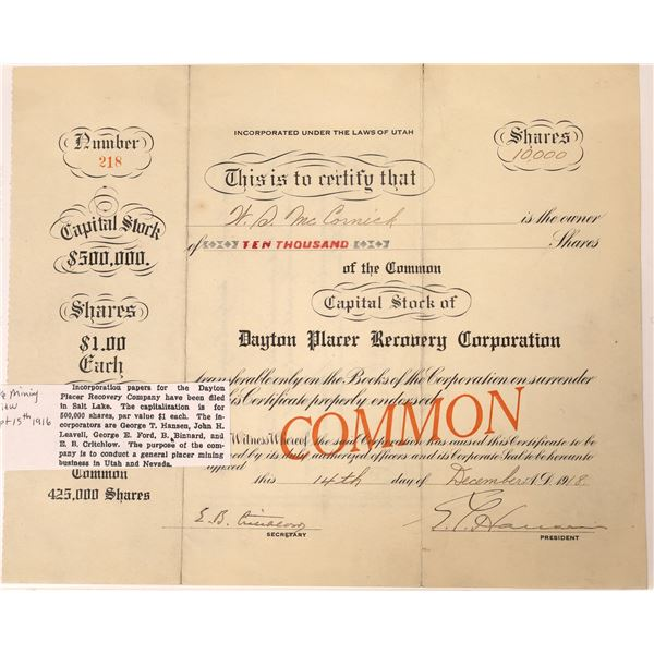 Dayton Placer Recovery Company Stock Certificate  [130101]