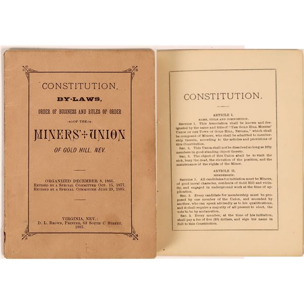 Miners Union Book Gold Hill, Nev.  [131455]