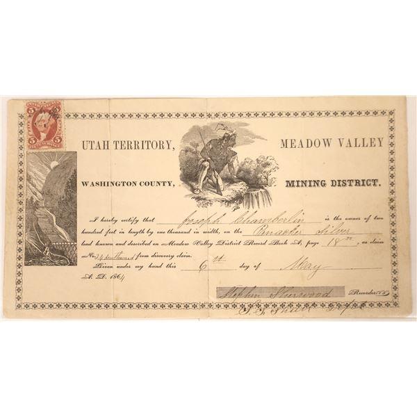 Earliest Known Pioche, Nevada Area Mining Document  [130102]