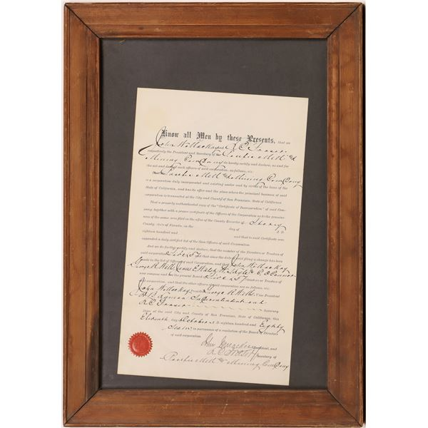 Mackay and Fraser Autographed Comstock Mining Document  [133756]