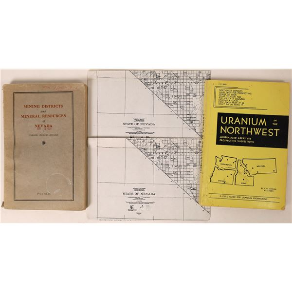"""""""Mining Districts and Mineral Resources of Nevada"""" by Church Lincoln with original map  [130078]"""