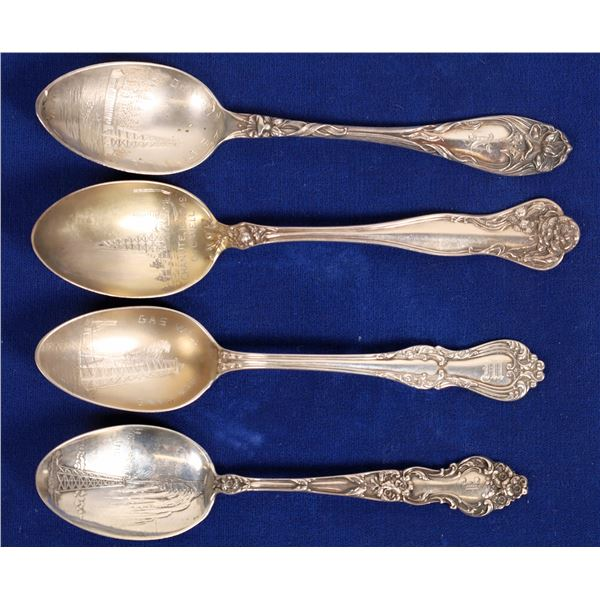 Four Different Oil Drilling Souvenir Silver Spoons  [134003]